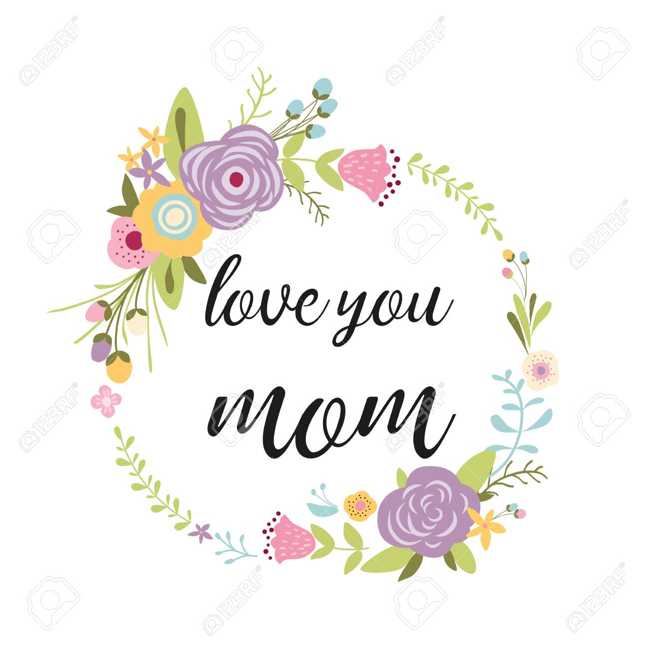Mothers Day Greeting Card Design Typographic Quote Love You Mom Floral Wreath Made Hand Drawn Green