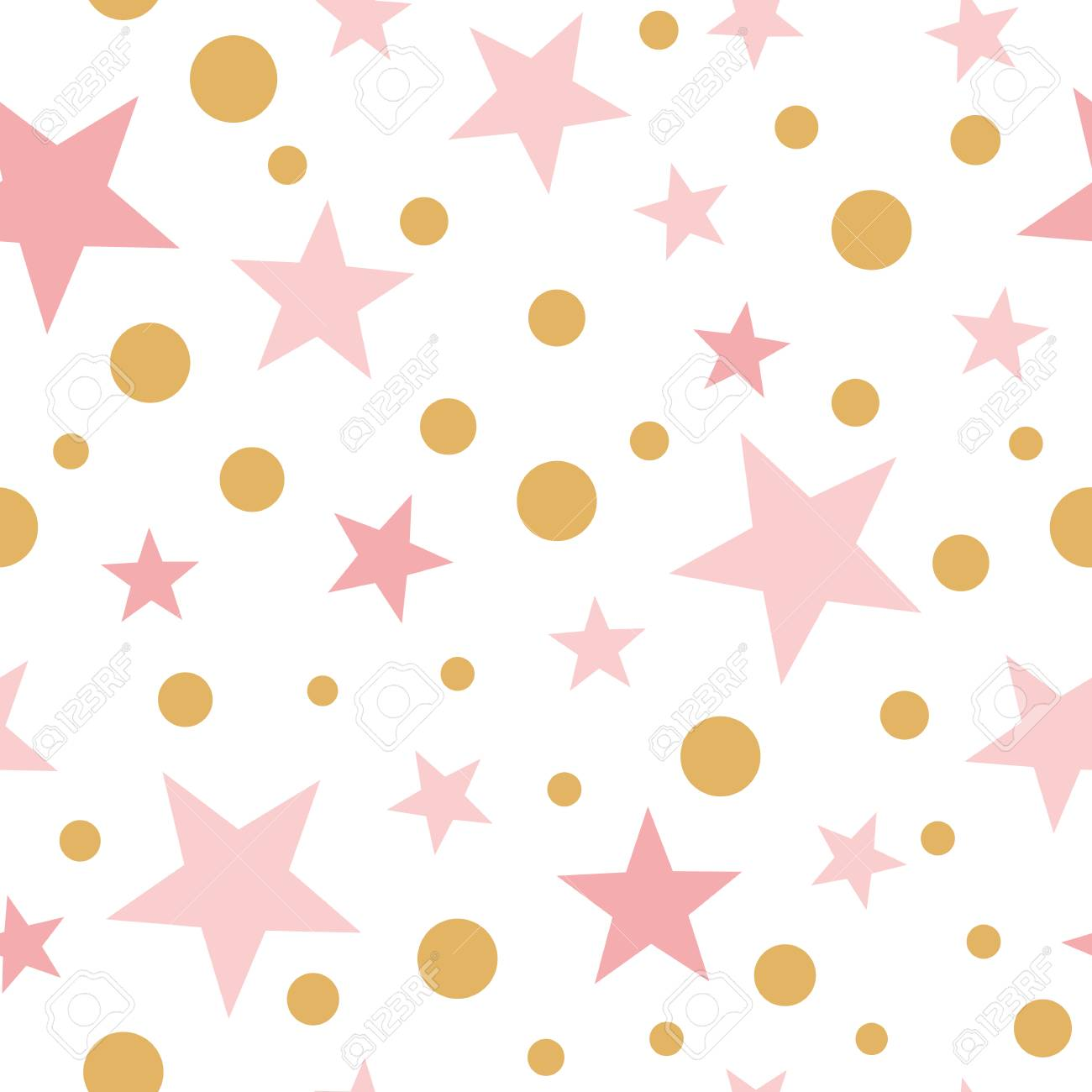 Vector Pink Seamless Pattern Gold Stars Pink Backgound Baby Shower