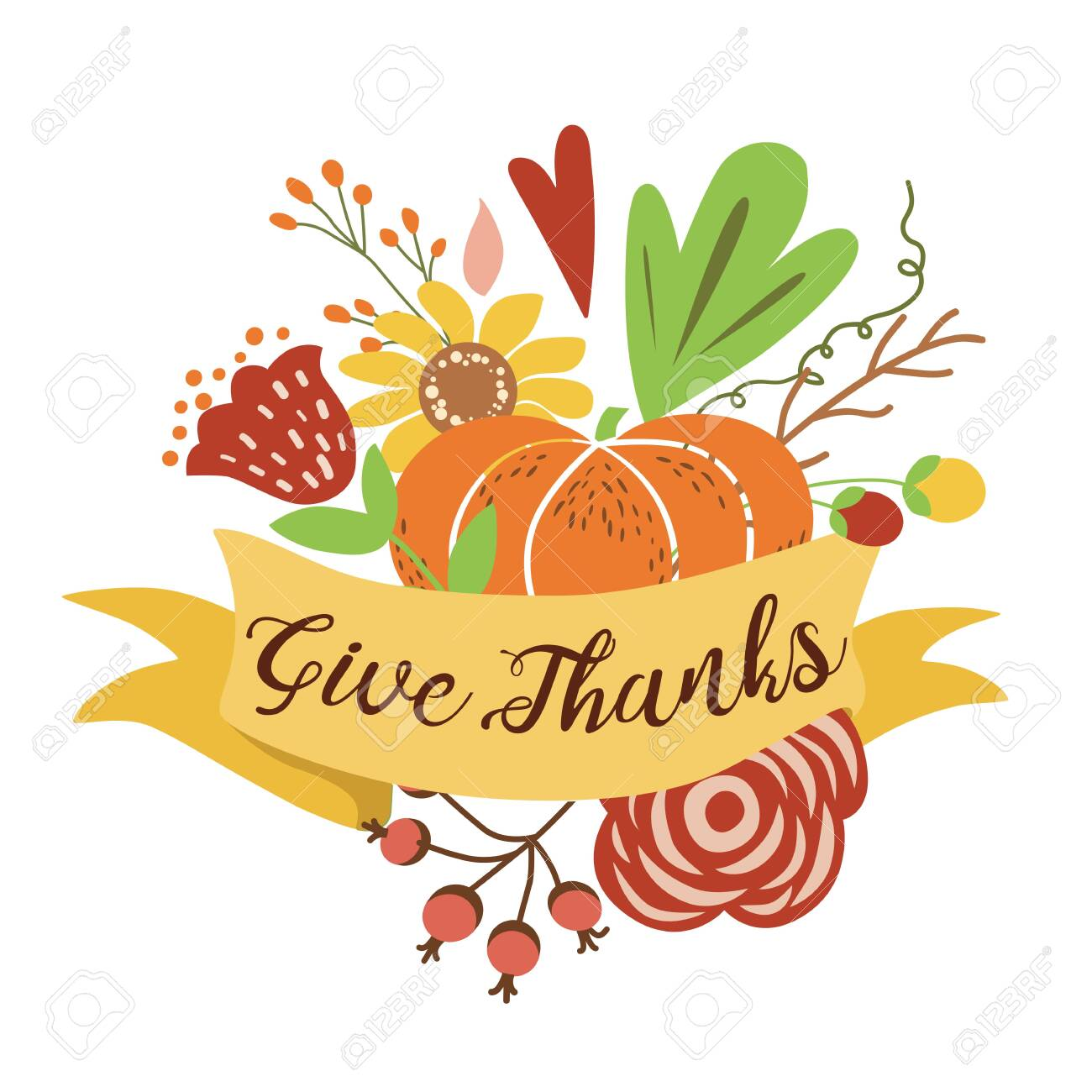 Give Thanks Autumn Bouquet Composition Hand Drawn Happy Thanksgiving Royalty Free Cliparts Vectors And Stock Illustration Image 127499005