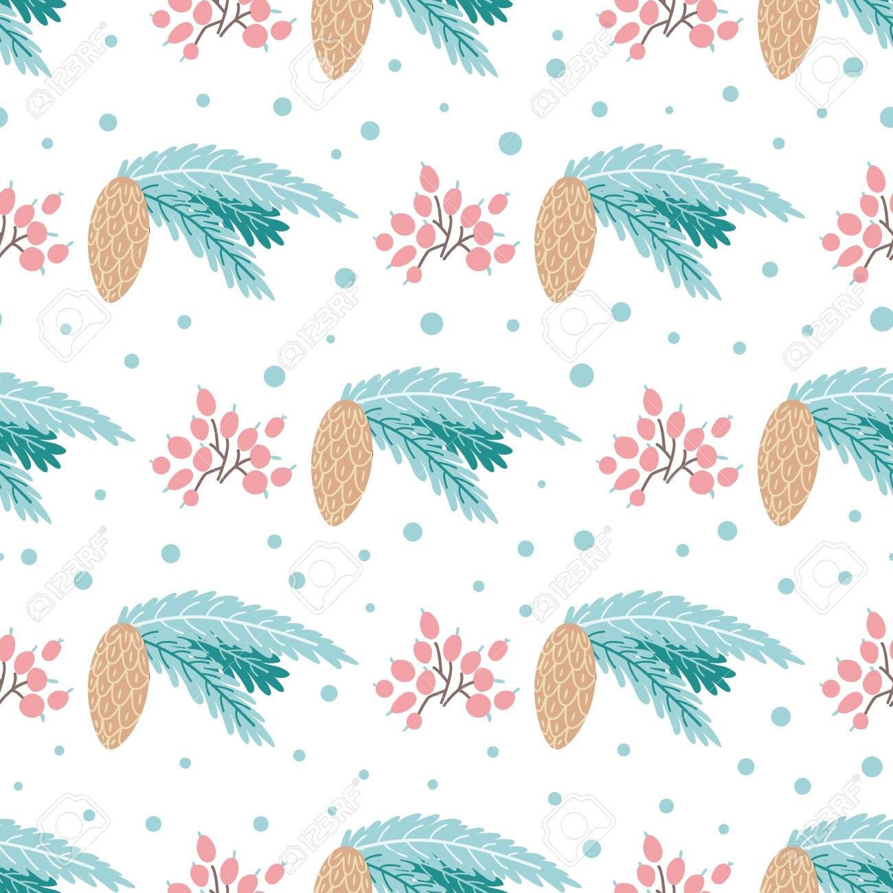 Winter Pine Pattern Fir Cones Seamless Background Christmas Plant Royalty Free Cliparts Vectors And Stock Illustration Image 130021722