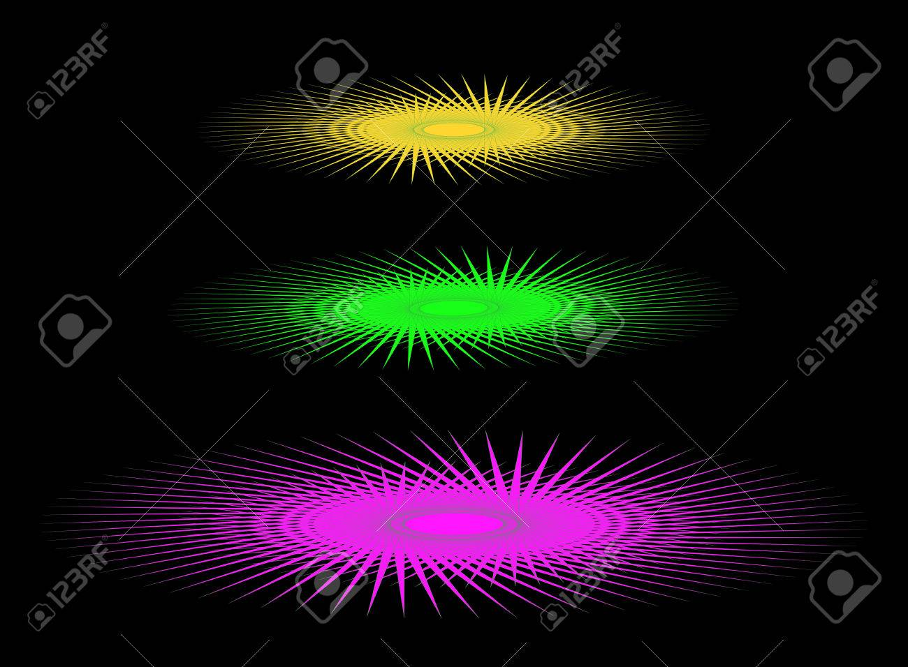 Abstract Three Colored UFO On A Black Background Stock Photo ... for Ufo Black Background  1lp1fsj