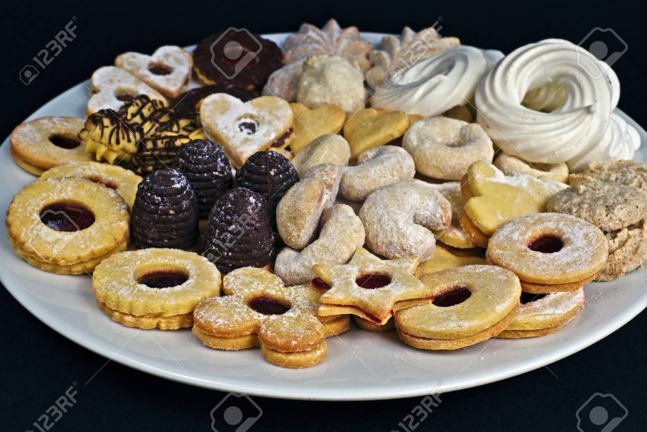 Homemade Different Christmas Cookies On A White Plate Sweets