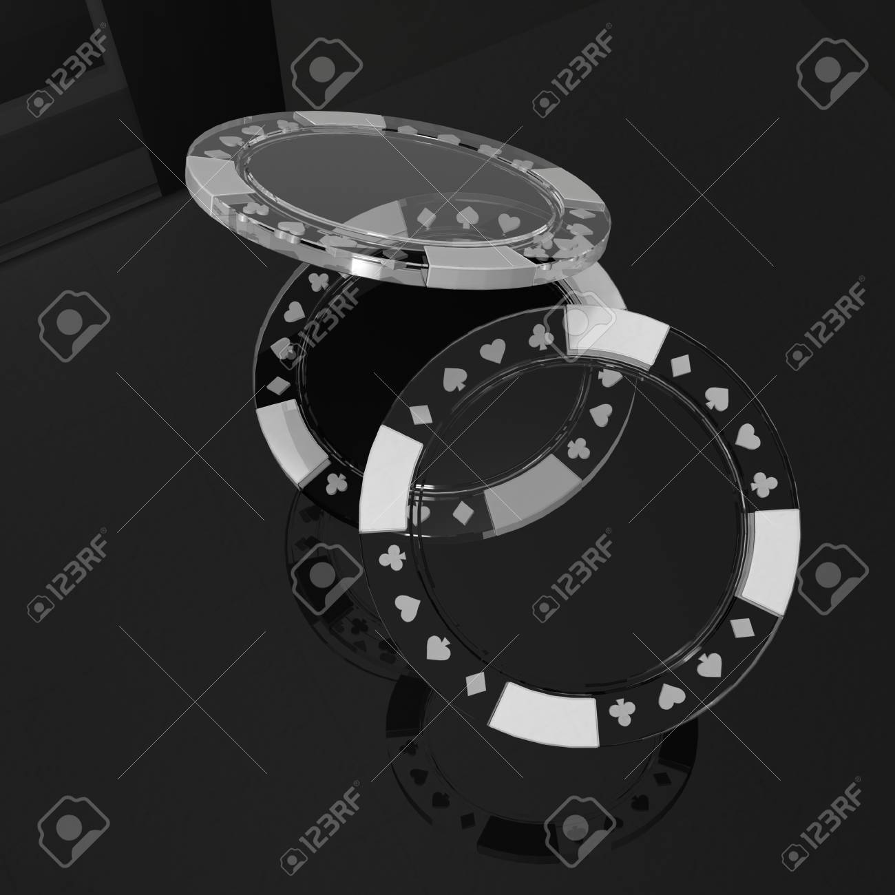 Superb Glass Poker Chips With Reflection On Black Table Home Remodeling Inspirations Basidirectenergyitoicom