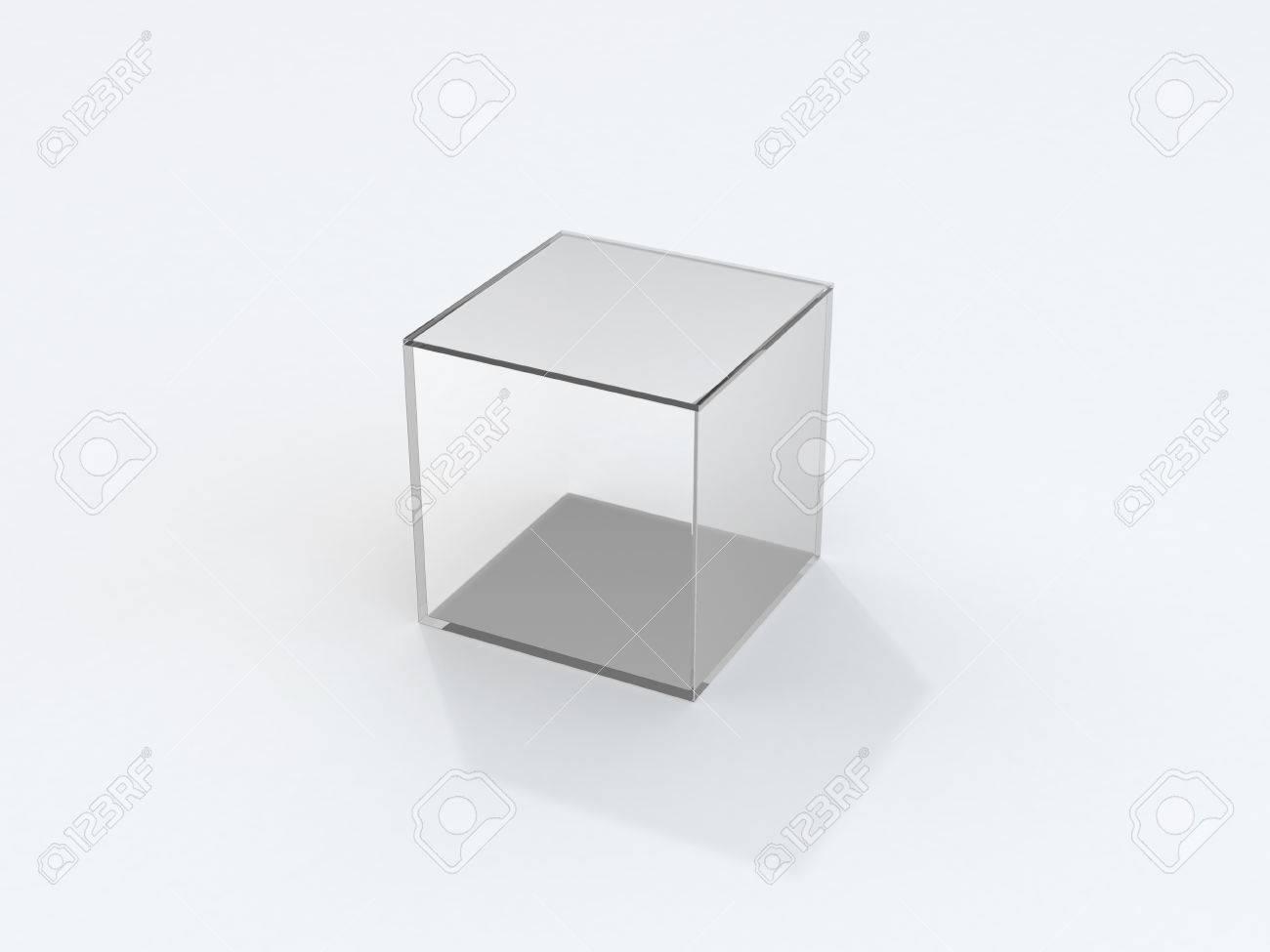 Glazen Kubus Met Foto.Geisoleerde Transparante Glazen Kubus Met Schaduw Over White