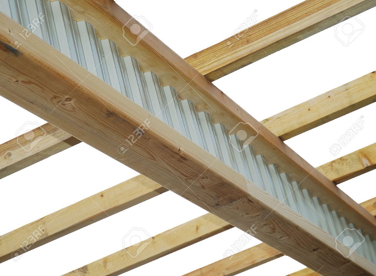 techo marco madera compuesta de aceroiviga y vigas foto de archivo