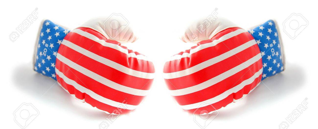 boxing gloves isolated on white with american flag stars and stripes Stock Photo - 5760702