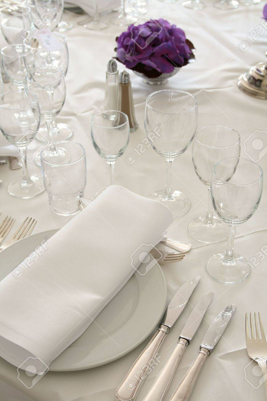 Table Setting For Fine Dining Or Party Cutlery And Plate Inrestaurant Stock Photo Picture And Royalty Free Image Image 5778843