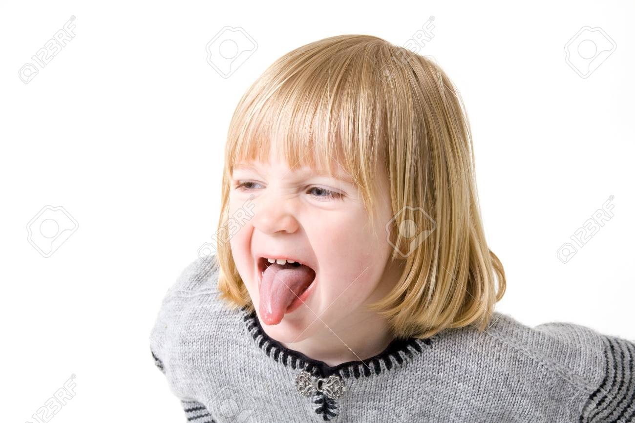 Child isolated on white with angry or annoyed expression Stock Photo - 5778925