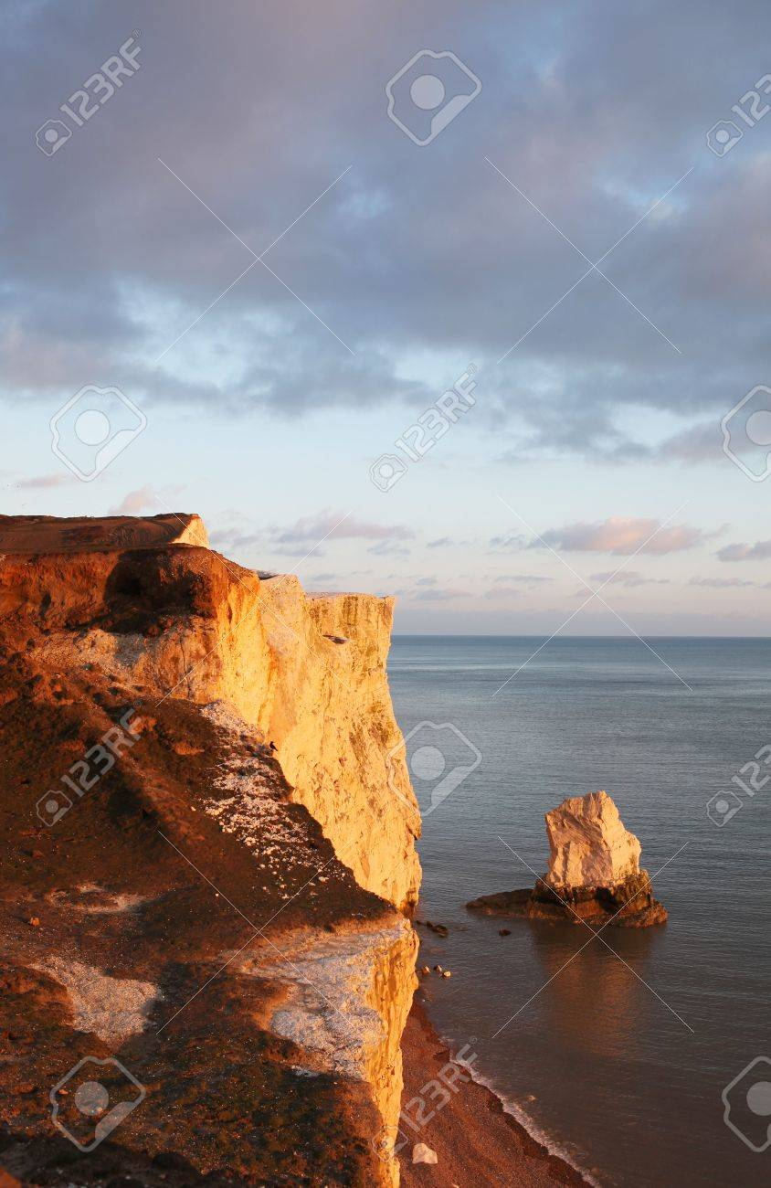 chalk cliff in sussex. English landmark, seven sisters hills by the sea in seaford. beach in spring and sunset Stock Photo - 6845148