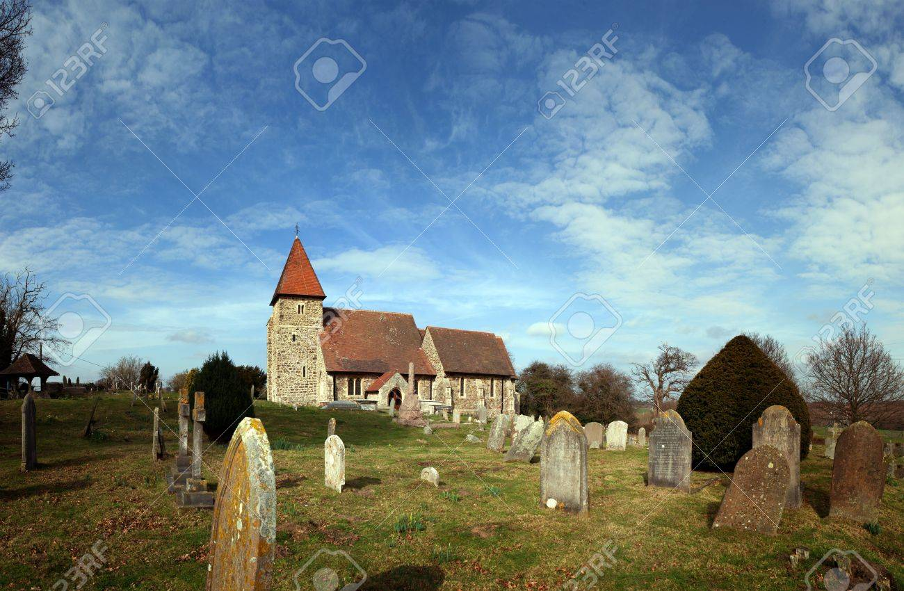Church in graveyard. English village church Saint Lawrence in Guestling. Traditional medieval place of Christian worship in England Stock Photo - 12879710
