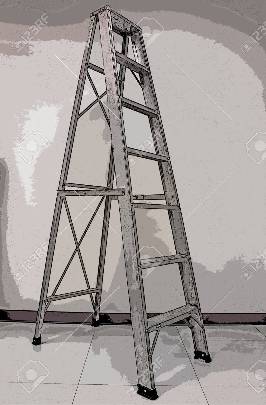 Poster Style Aluminum Staircase Fold Equipment Stock Photo   19462258
