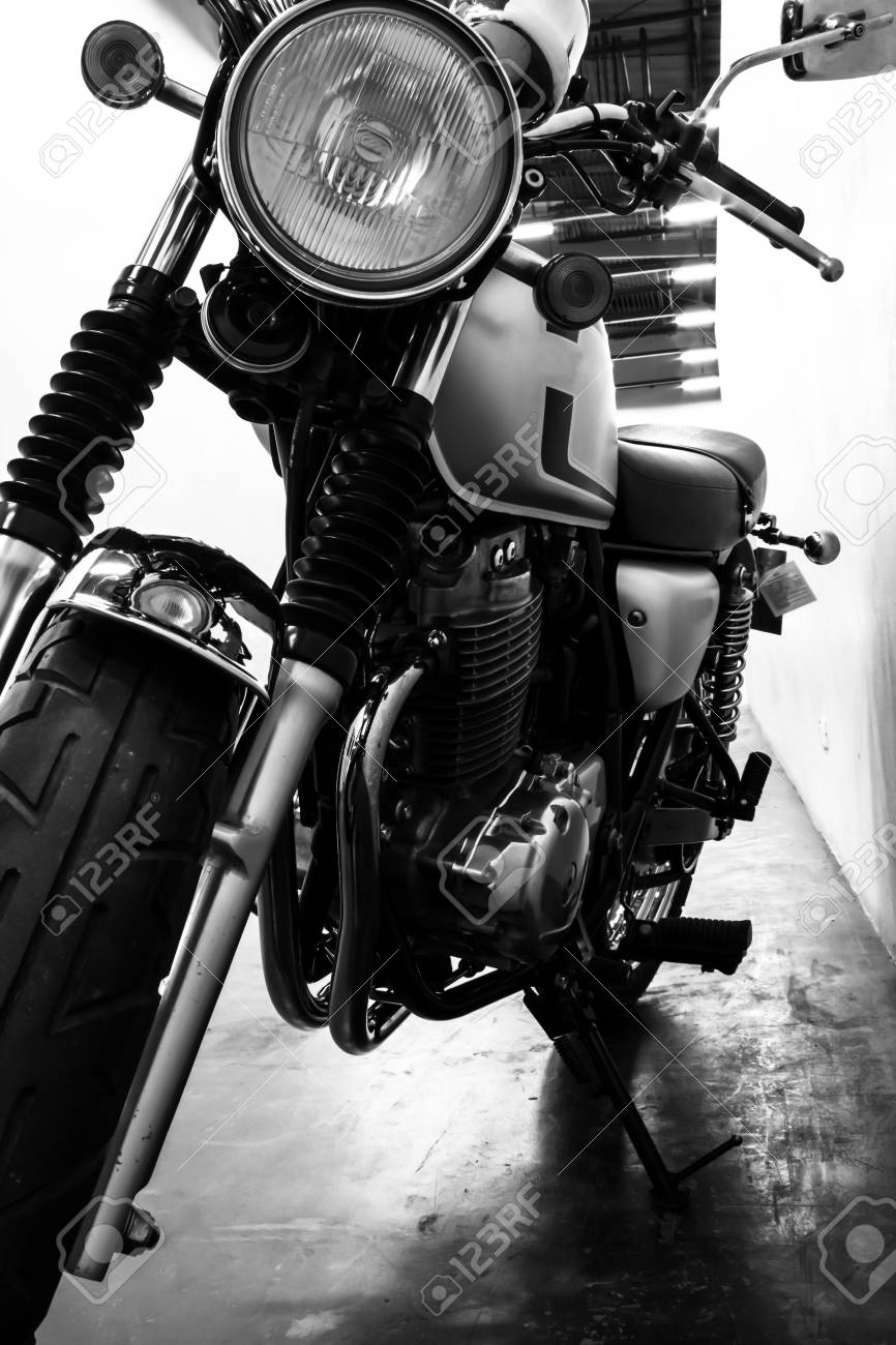 Black And White Vintage Motorcycle Detail