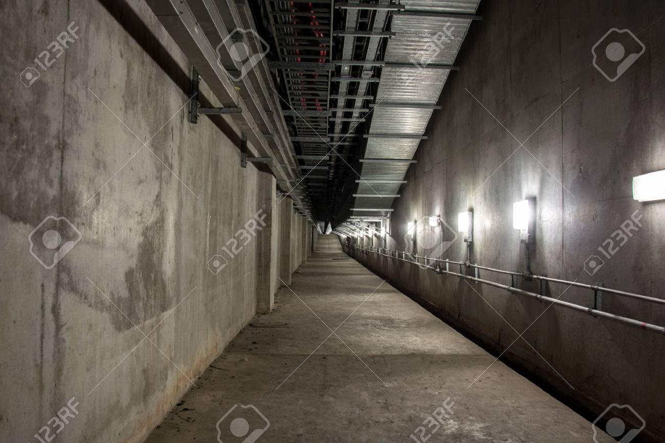 Attractive Empty Industrial Garage Room Interior With Concrete Floor And Wall  Background Stock Photo   44799646