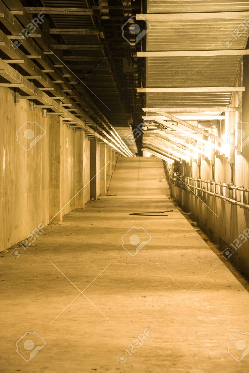 Empty Industrial Garage Room Interior With Concrete Floor And Wall  Background, Vintage Color Style Stock