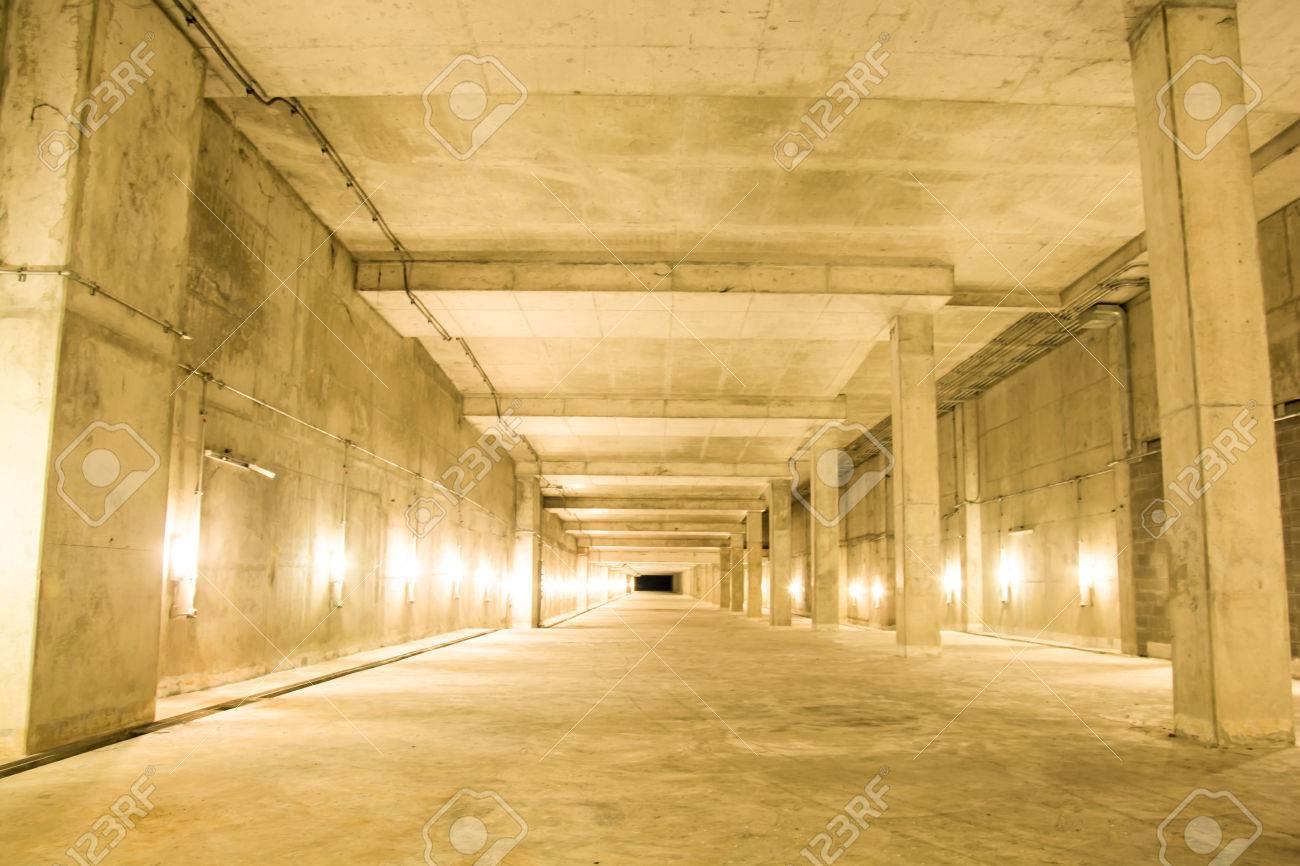 Empty Industrial Garage Room Interior With Concrete Floor And ...