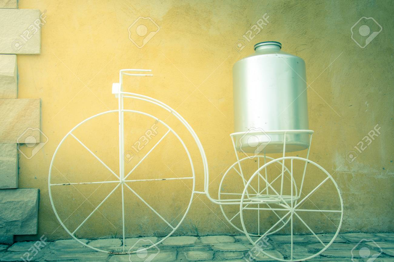 Light On White Decor Bicycle On The Rock Wall Background., Vintage ...