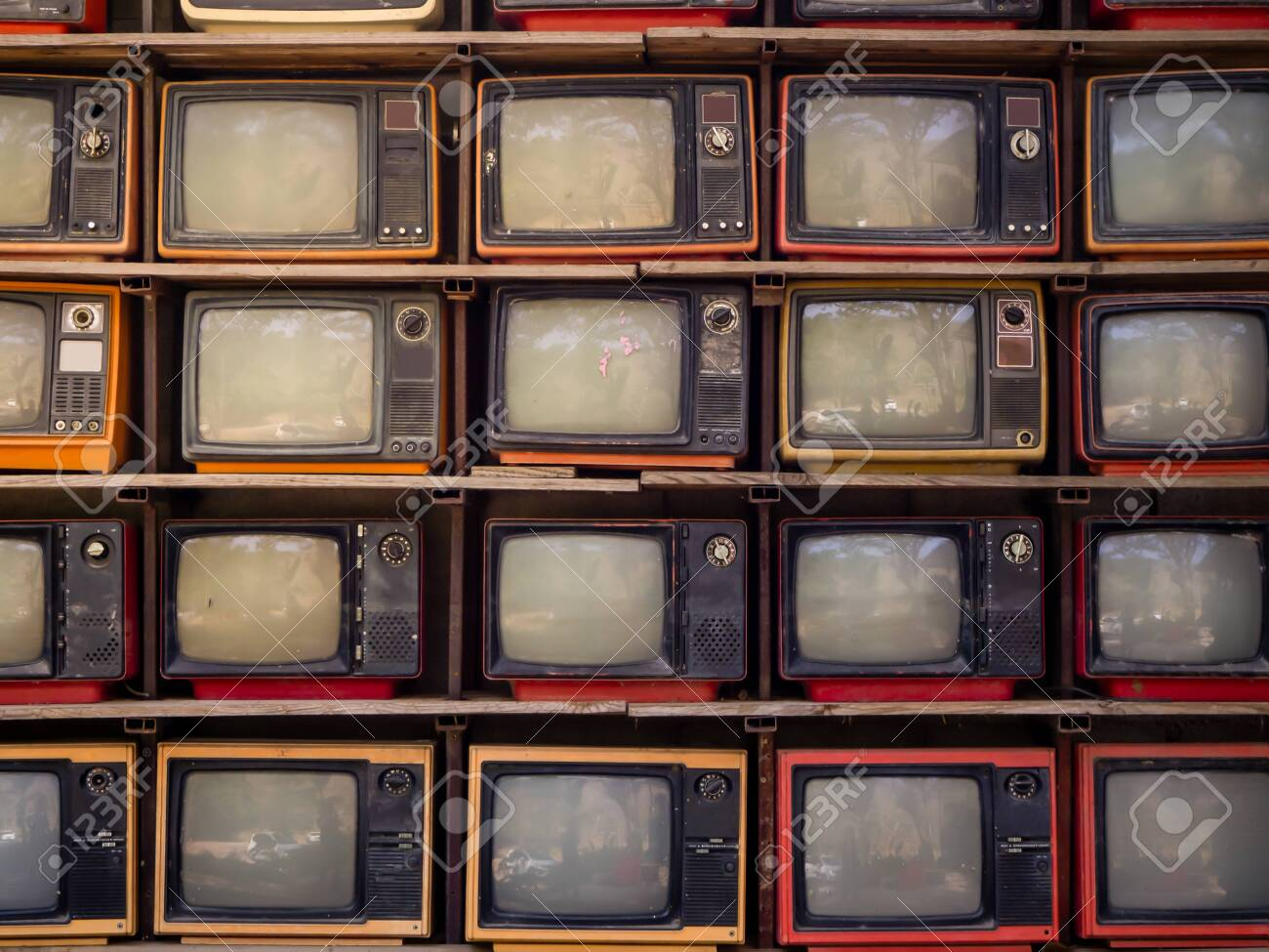 The Pattern wall of pile old retro TV bachground - 138351746