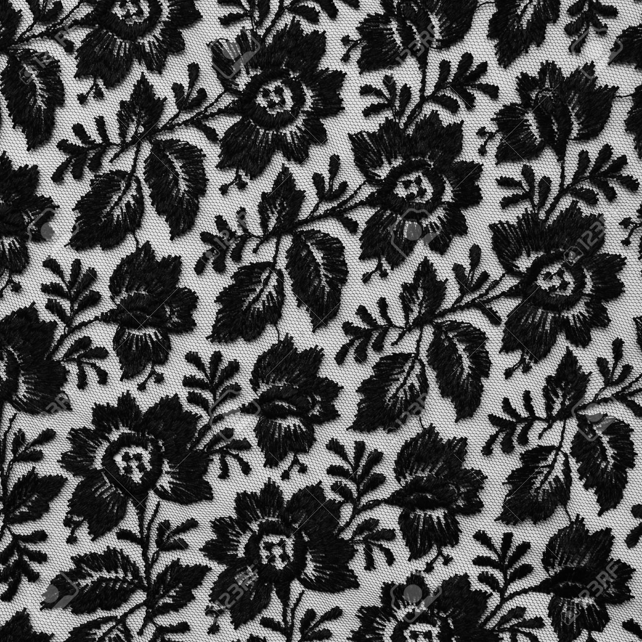 Black Lace Fabric Texture With Floral Design. Stock Photo, Picture ... for White Fabric Texture Design  555kxo