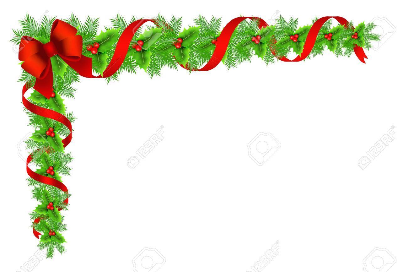 Image Bordure Noel.Bordure Decorative Avec Le Houx De Noel Branches De Sapin Rubans Et Se Inclinent Sur Fond Blanc
