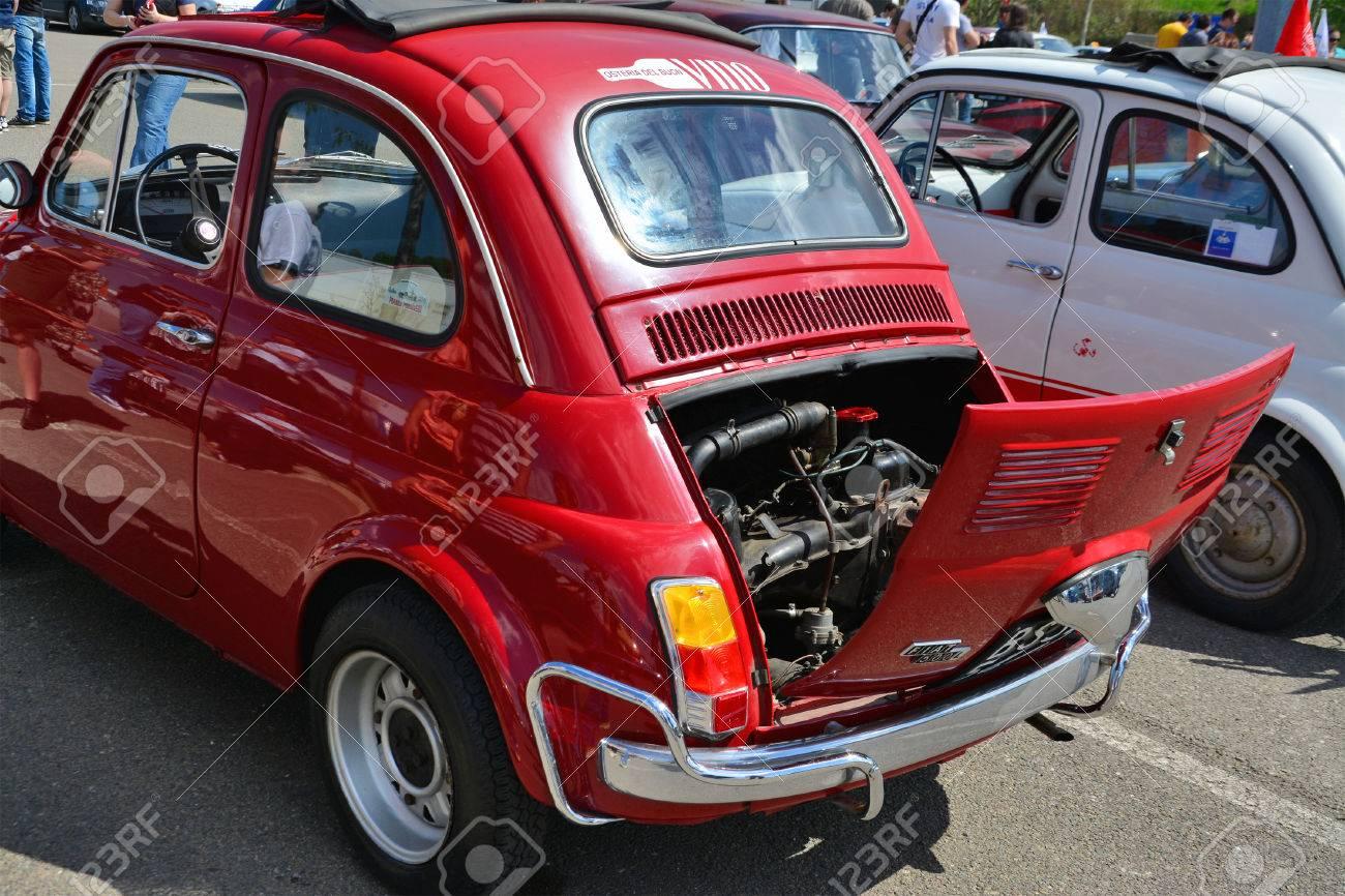 Cluj Napoca Romania April 16 2016 Old Fiat 500 Car Rear