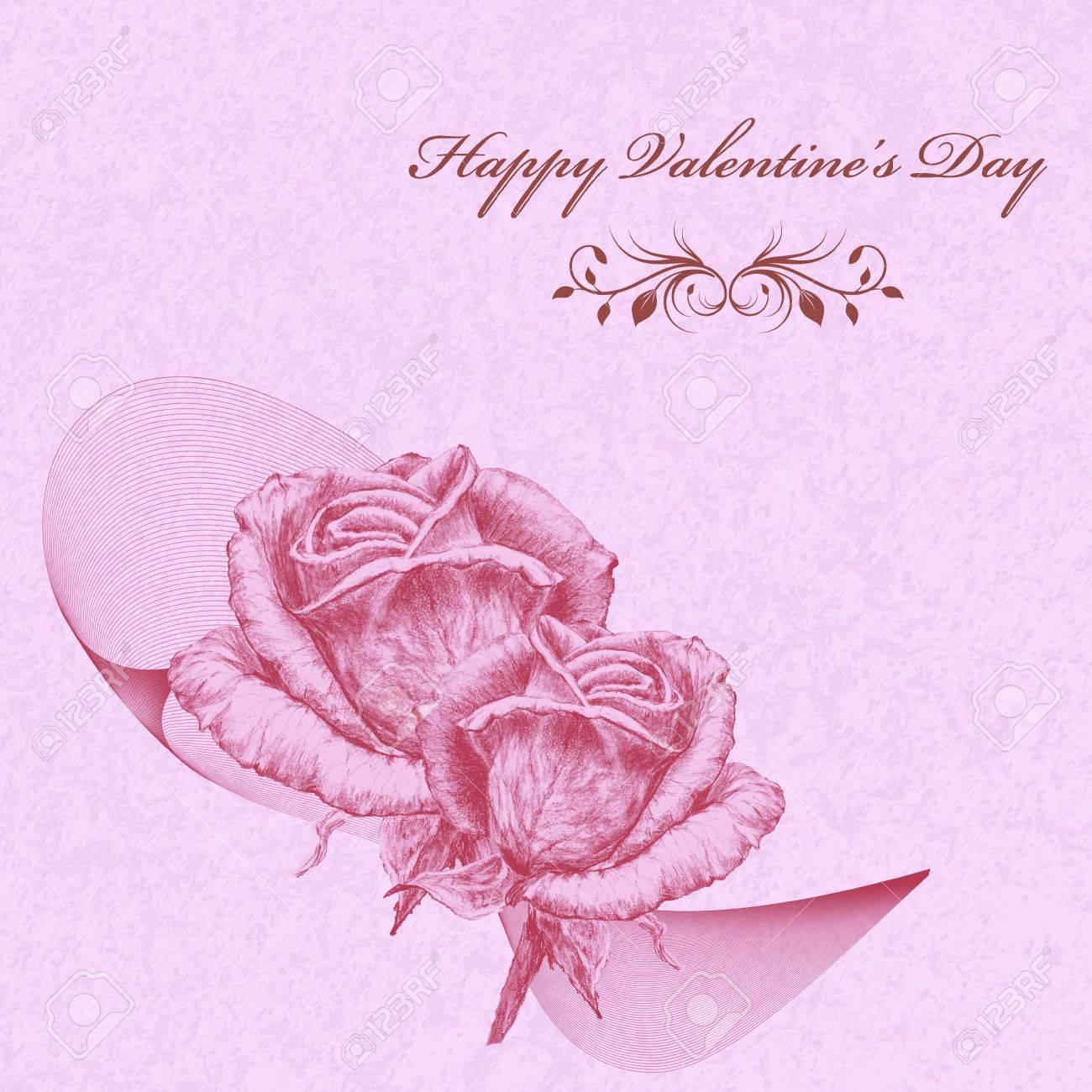 Carte De Saint Valentin Avec Des Roses Roses Sur Fond De Lavande