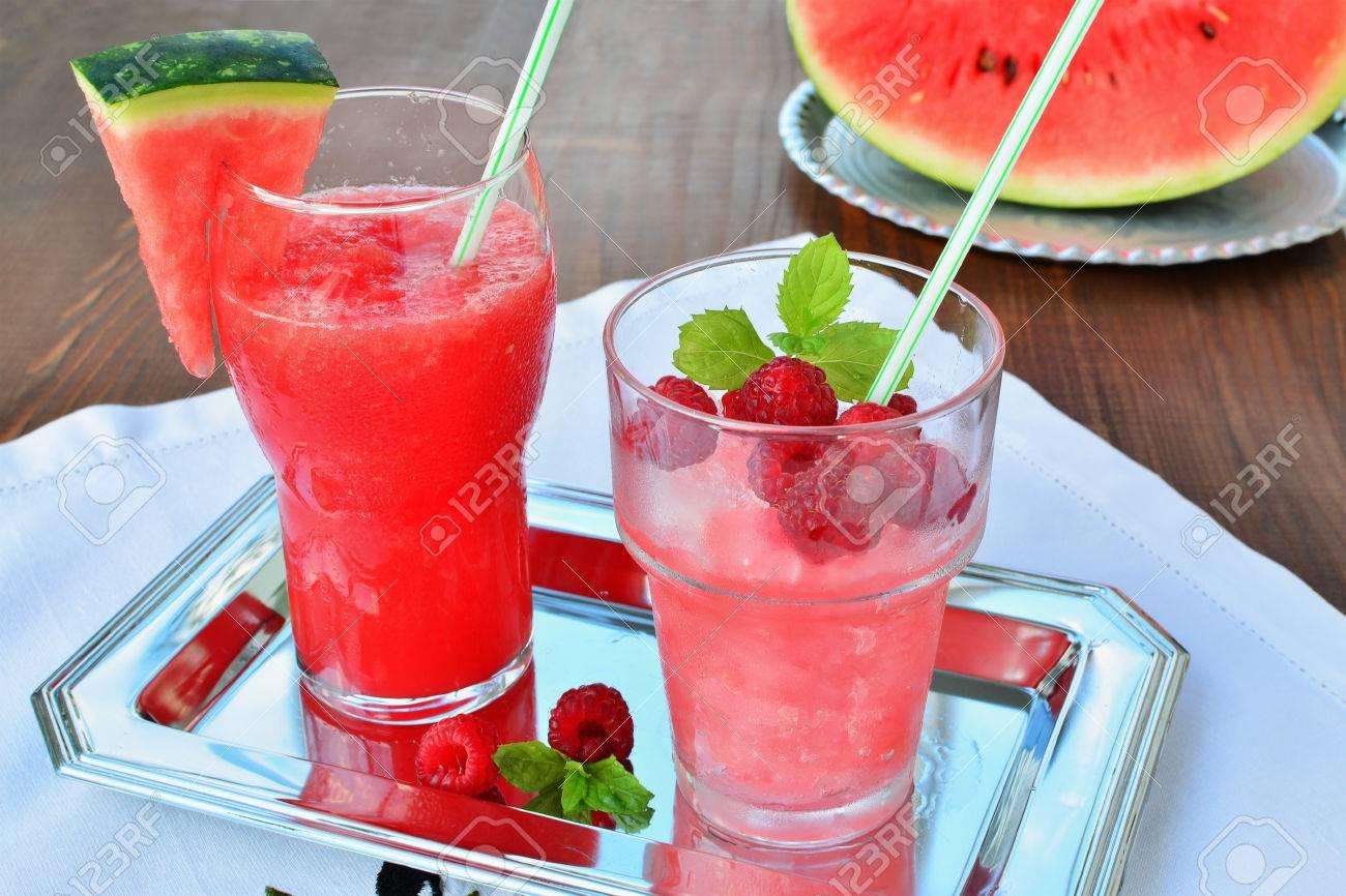 Wassermelone Und Himbeere Rasierte Eis Slush Sommer ...