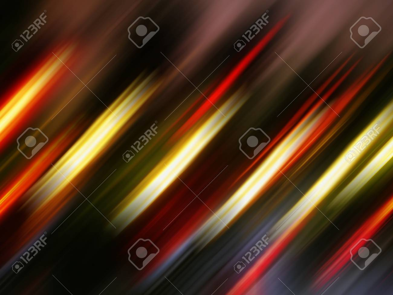 Red Yellow Glowing Diagonal Light Stripes On Black Abstract