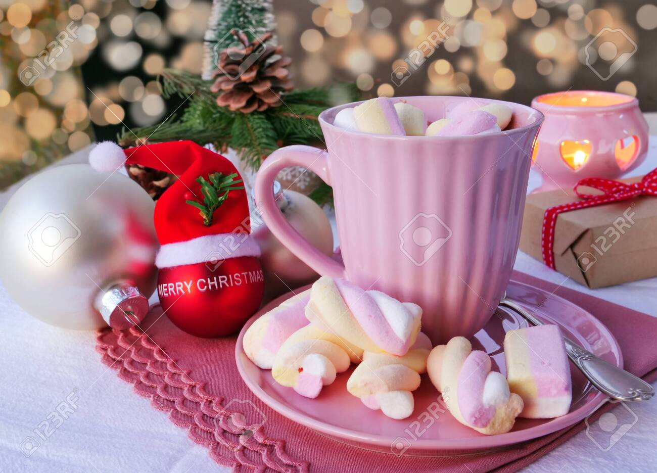 Hot Chocolate With Marshmallows In Pink Mug On Christmas Table Stock Photo Picture And Royalty Free Image Image 134030818