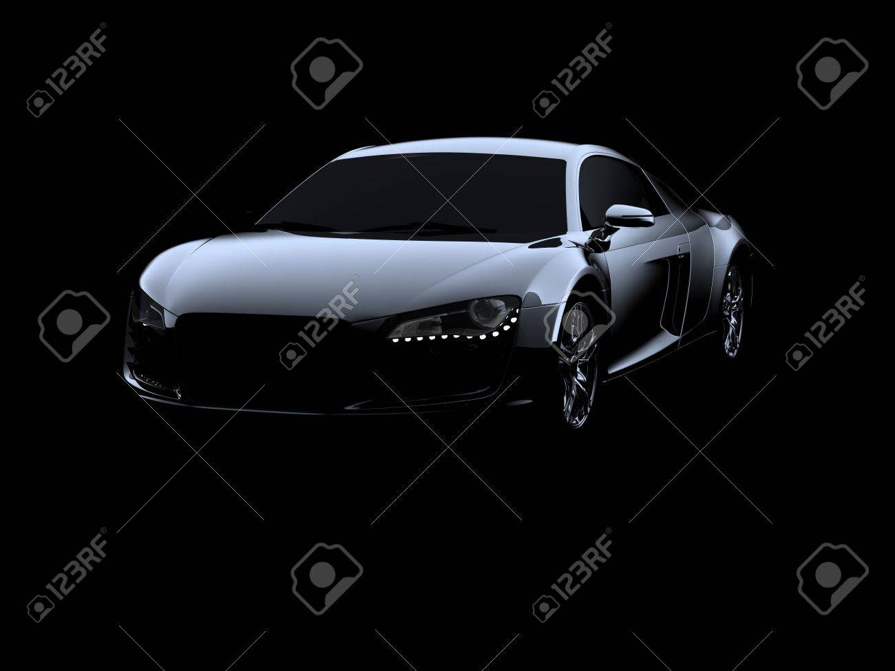 abstract audi r8 on black background stock photo, picture and