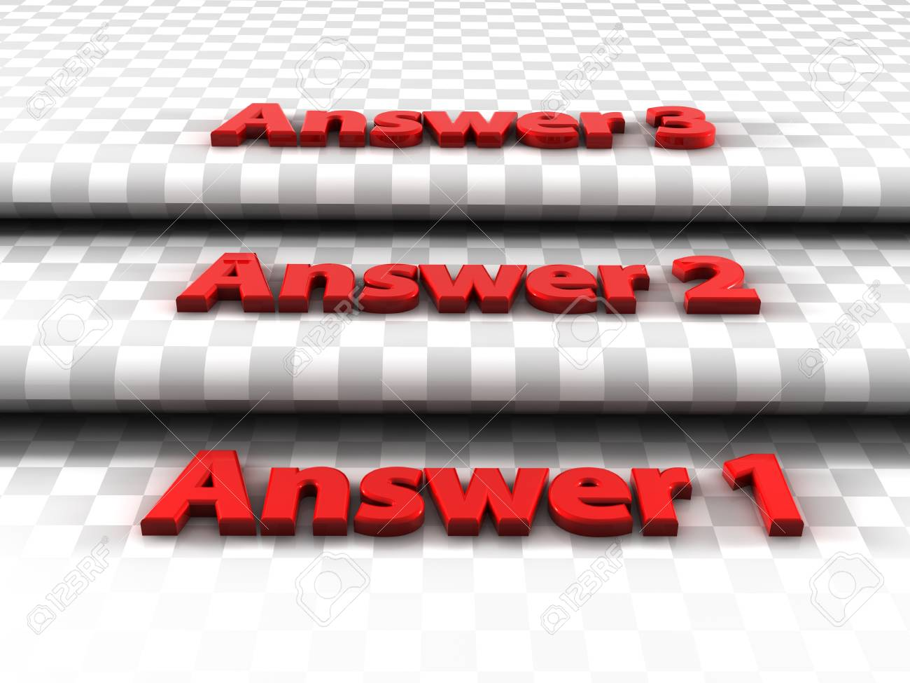 Three steps, three answers to choose from Stock Photo - 17244101