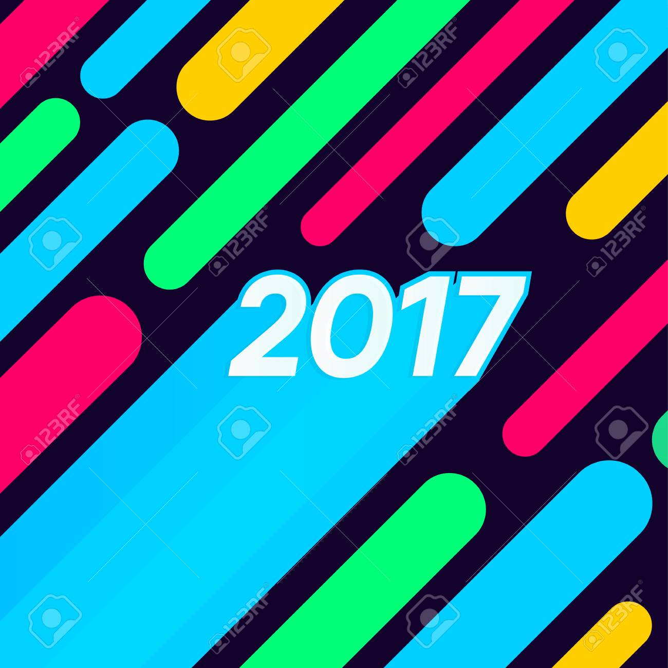 Fun Happy New Year 2017 Text Numbers Multicolor Poster. Abstract ...