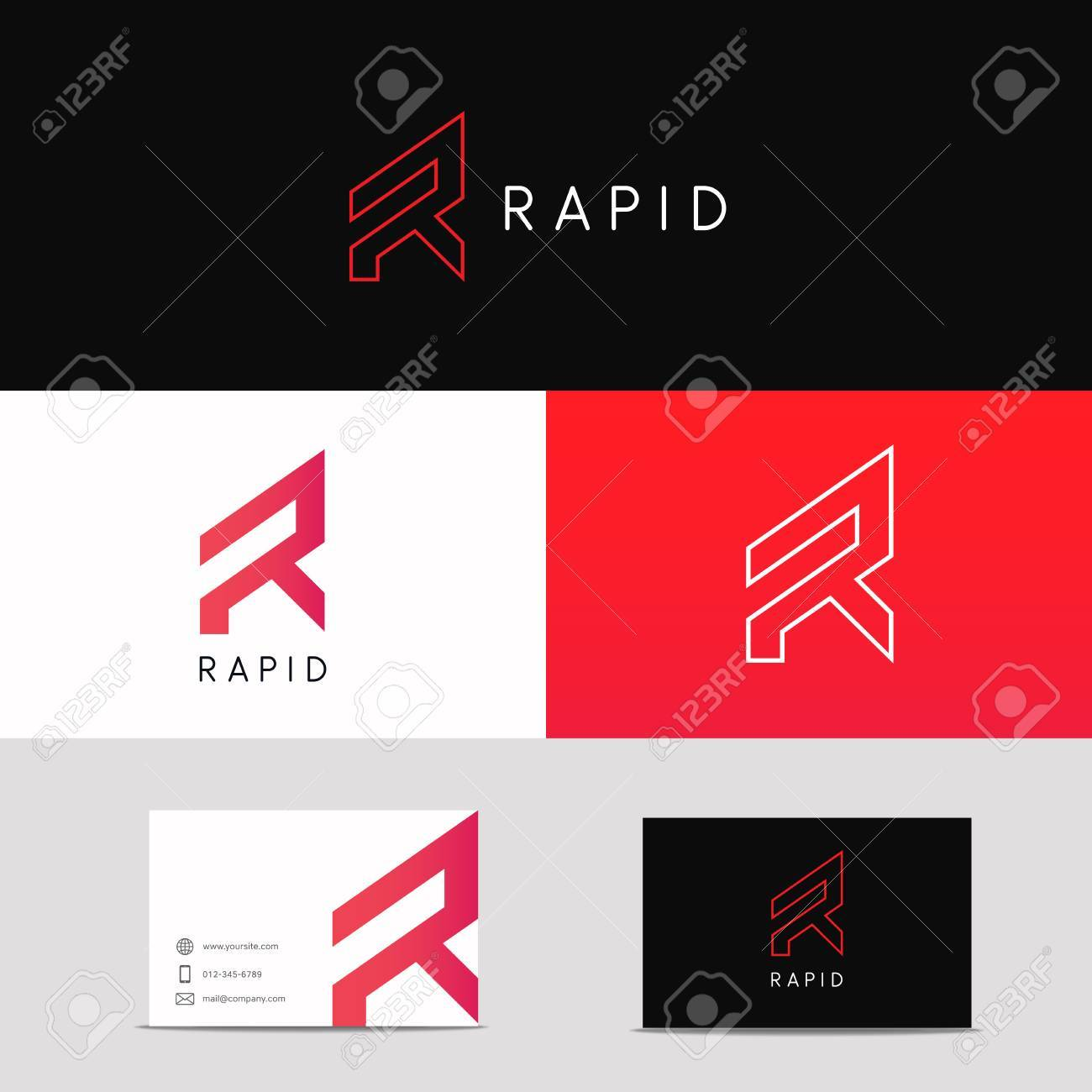 Letter R Logo Minimalistic Sign. Company Brand Business Card ...