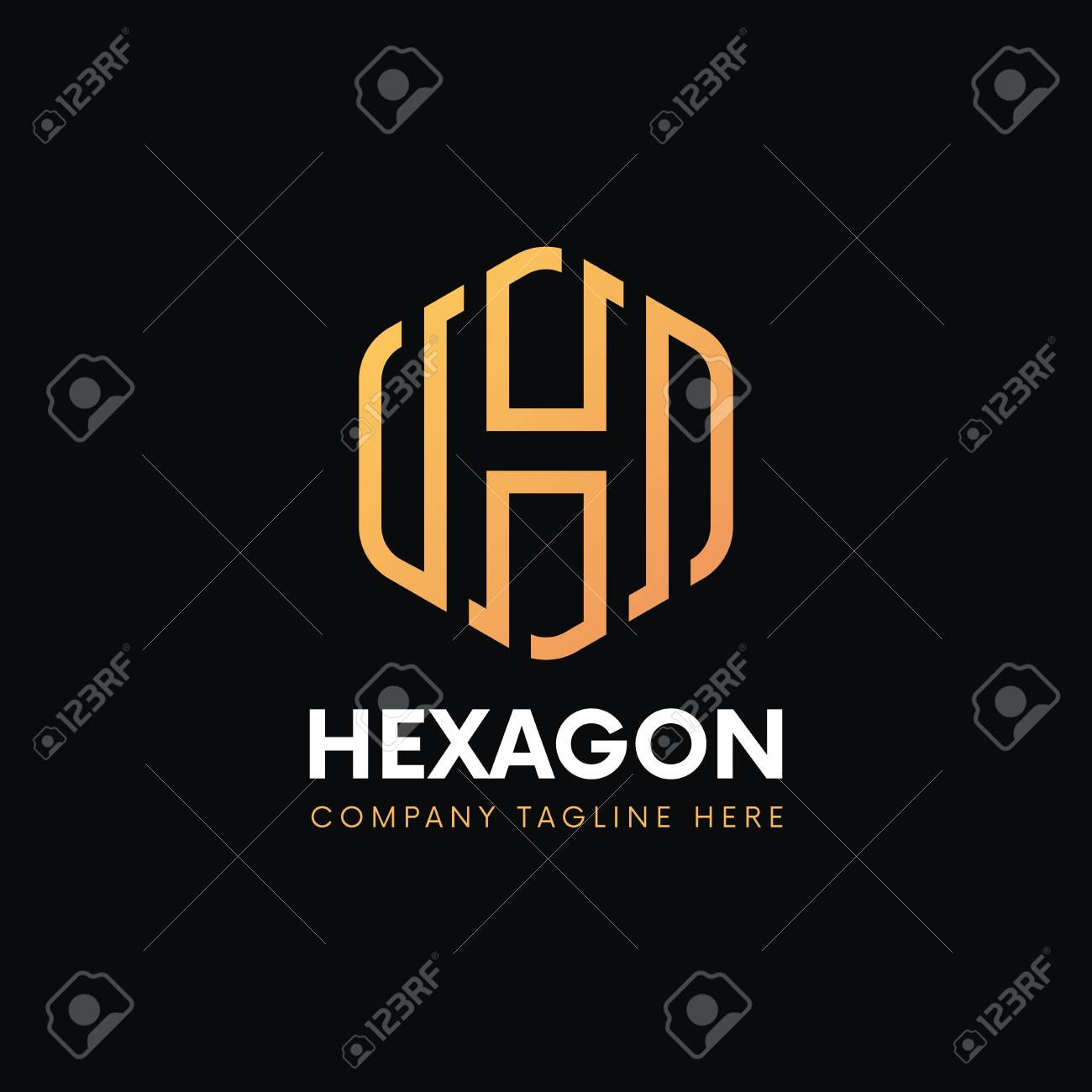 d322ab8aa4f Clean luxury H letter logo hexagon linear sign vintage design. Stock Vector  - 84970859