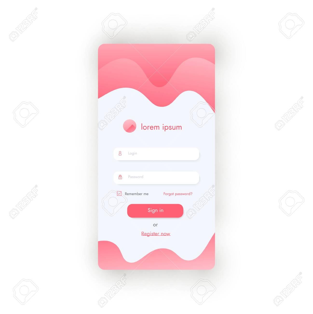 Sign Up Form For Phone App Or Websiste. Mobile Login Page Ui ...