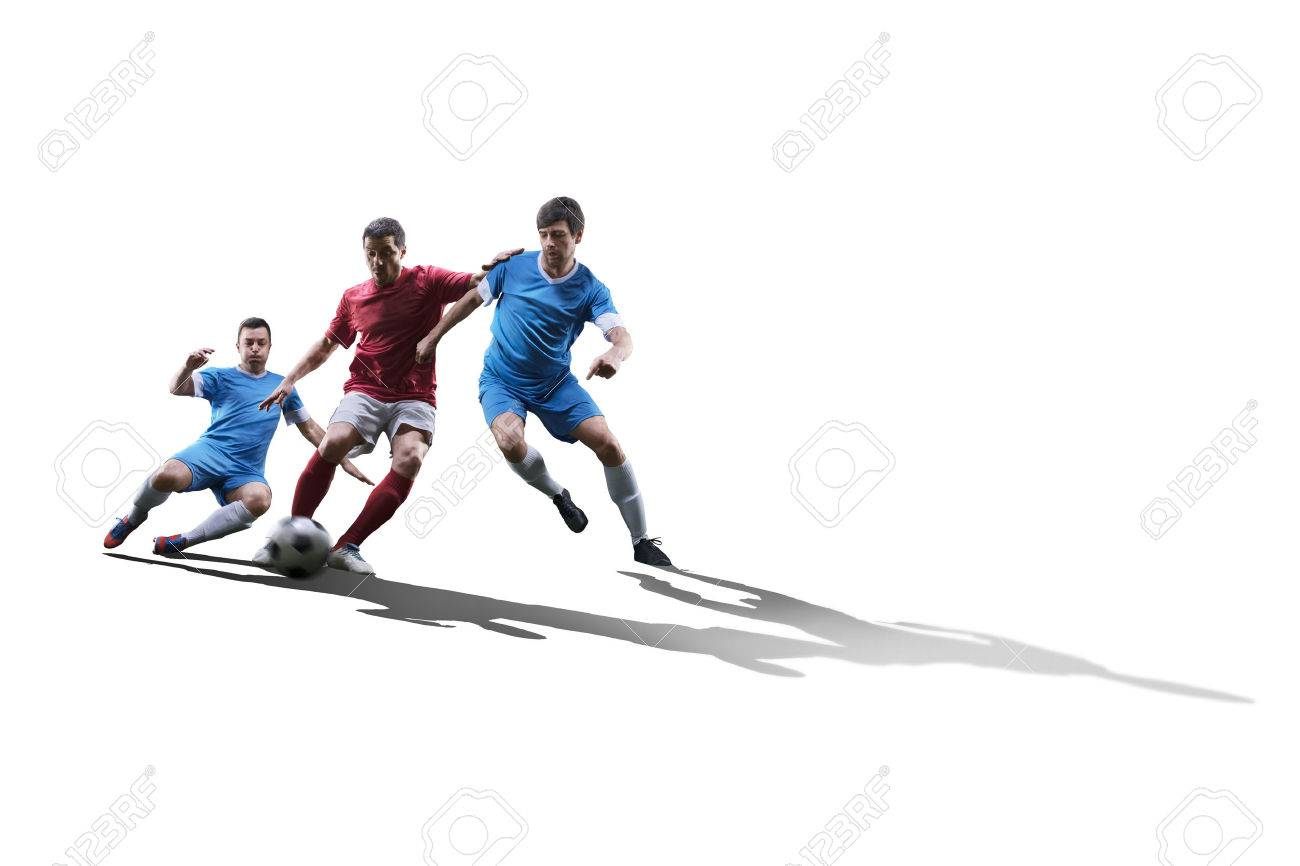 football soccer players in action isolated on white background - 60766936
