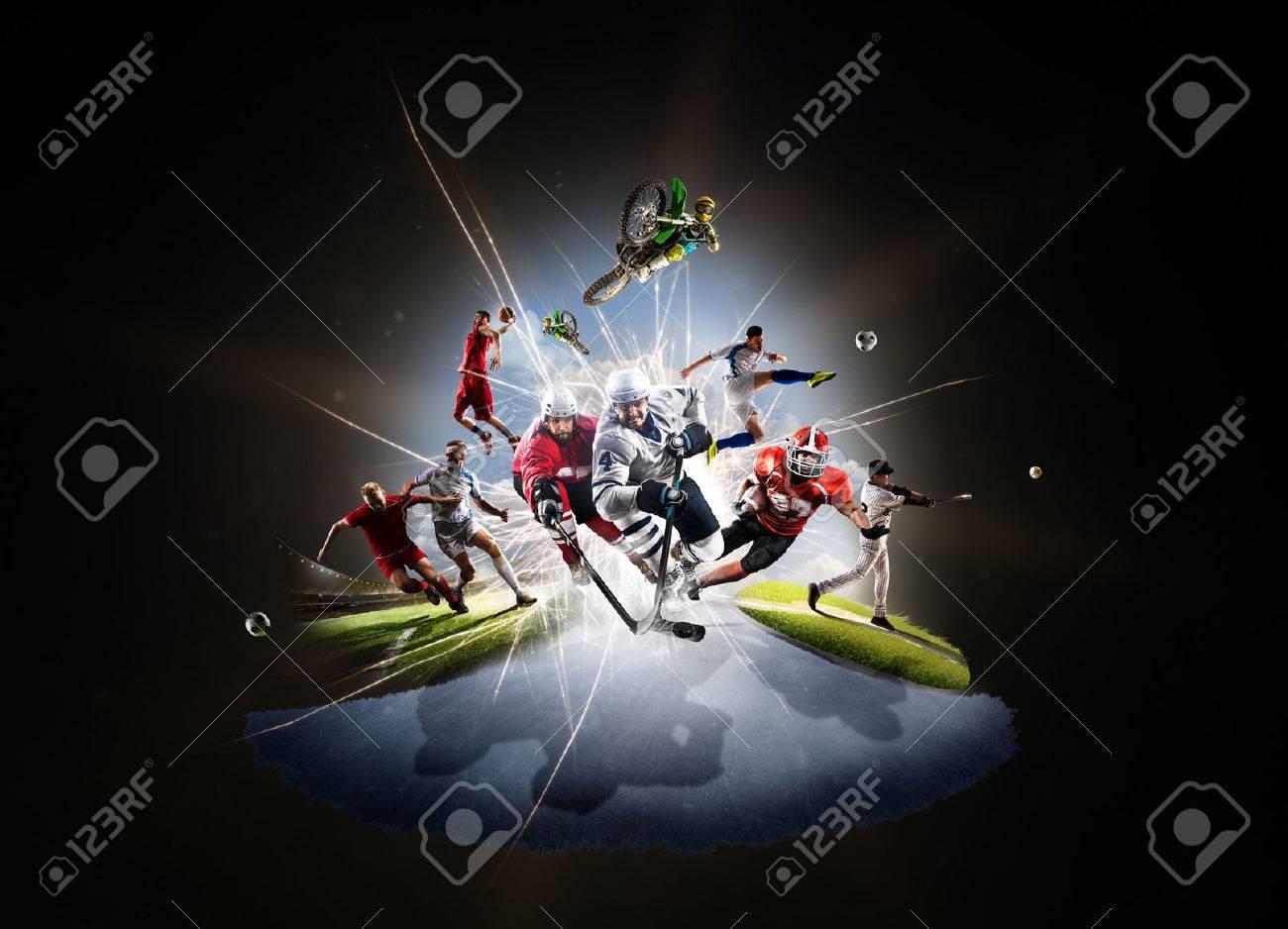 Multi sports collage from soccer basketball hockey footbal baseball dirt bike - 59848988