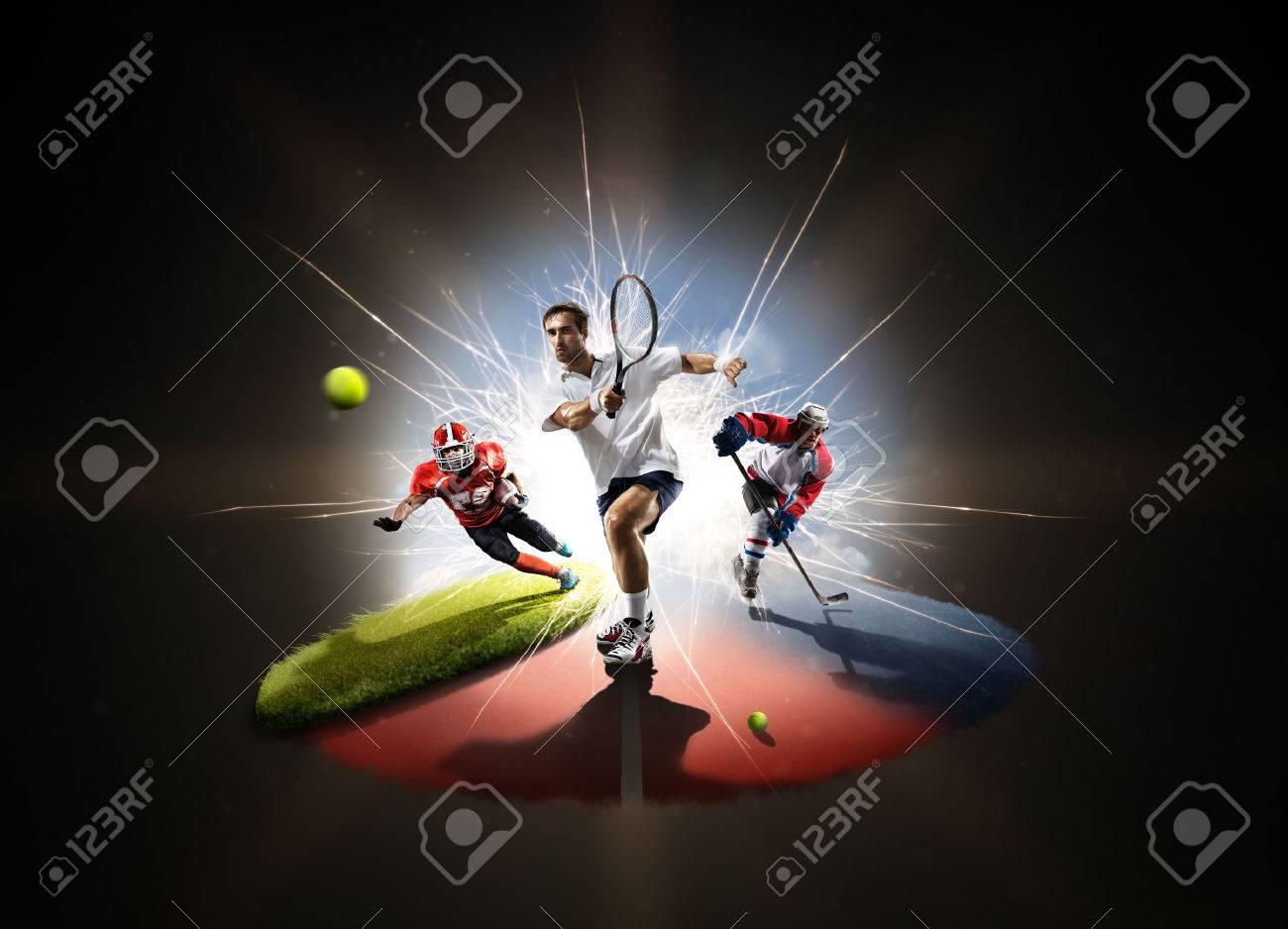Multi sports collage tennis hockey american footbal - 60366667