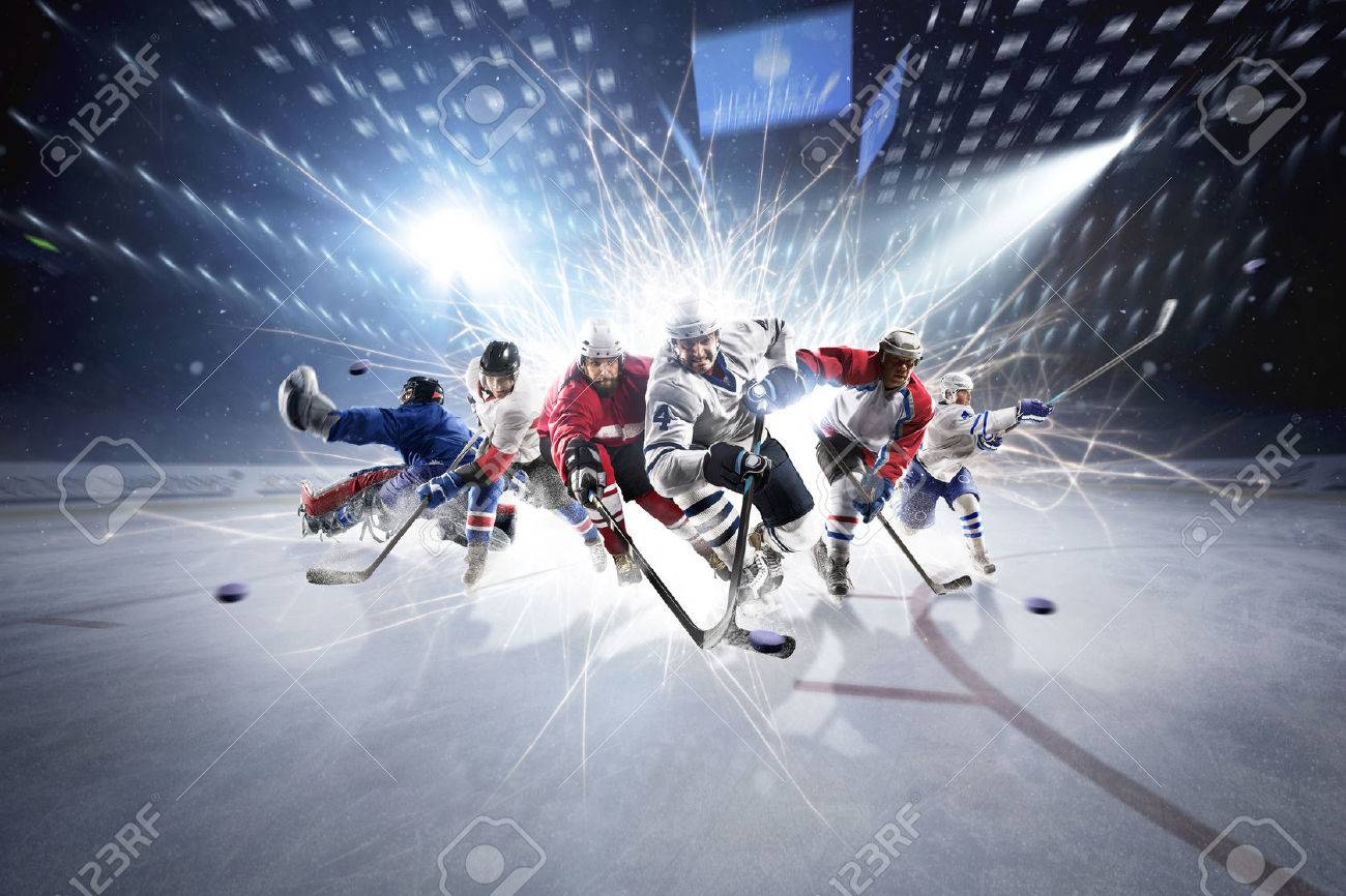 collage from professional hockey players in action - 60366673
