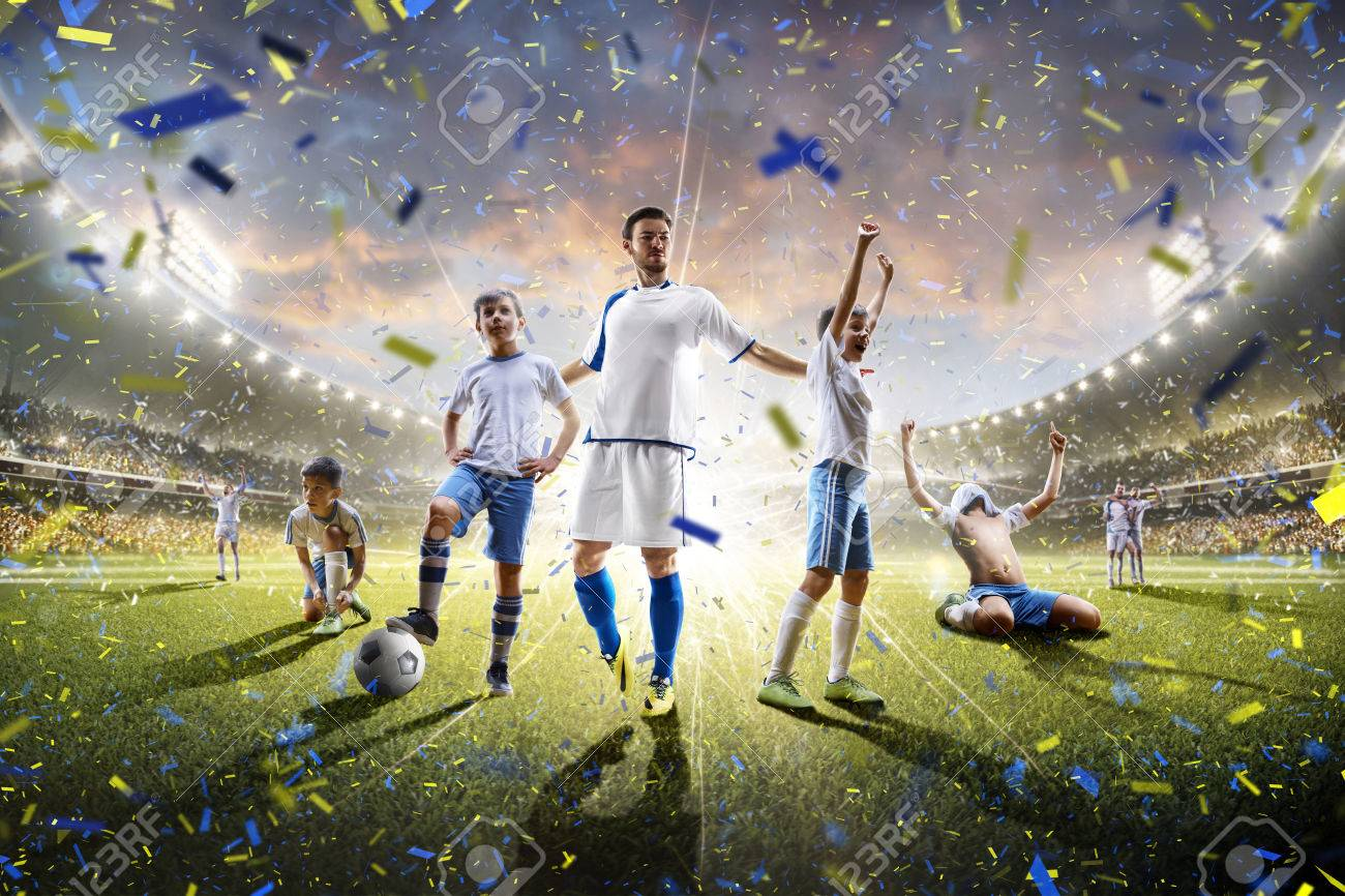 Collage from adult and childrens soccer players in action on the stadium background panorama - 60366675