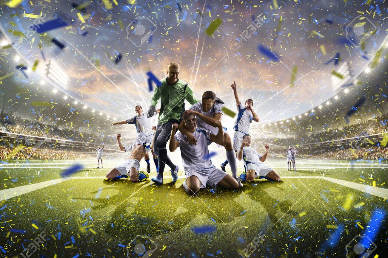 Collage from adult soccer players in action on the high light stadium background panorama - 60366677