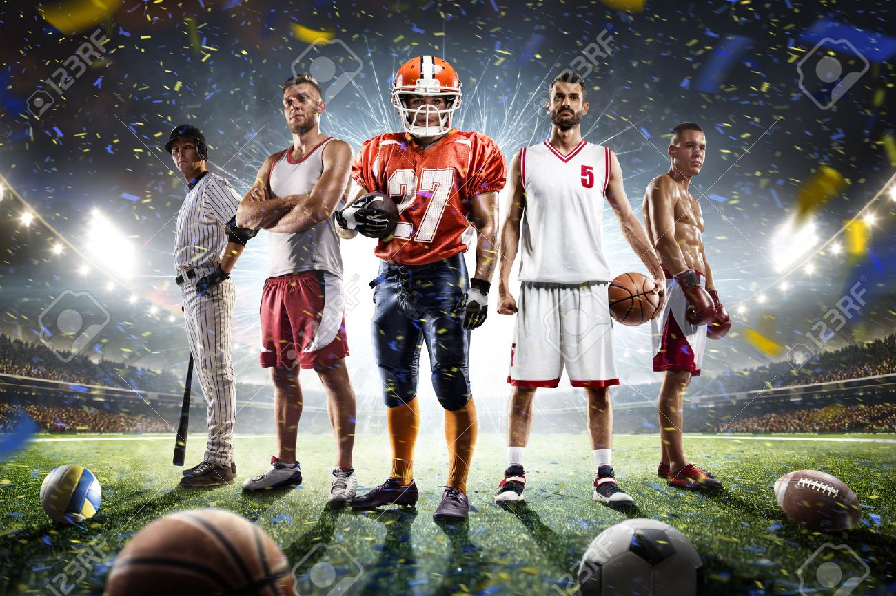 Multi sports proud players collage on grand arena - 68552336