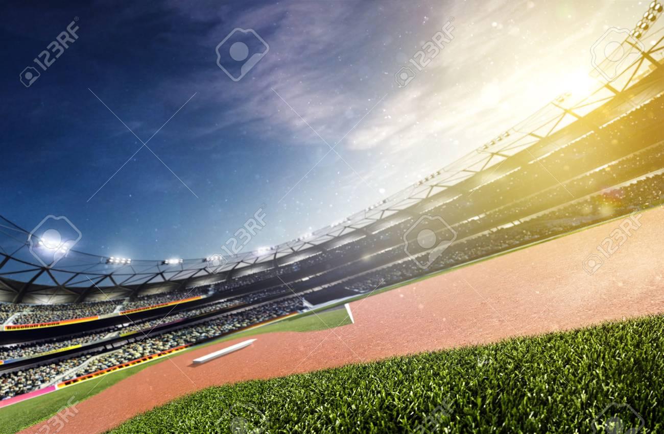 Empty baseball stadium 3d render panorama - 95815606