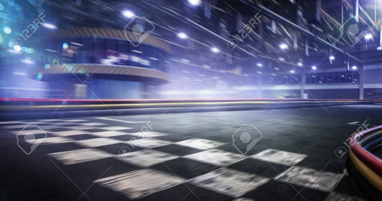 Cart race track finish line in motion background - 95525474