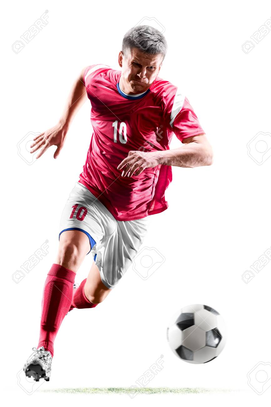 one caucasian soccer player man isolated on white background - 113962675