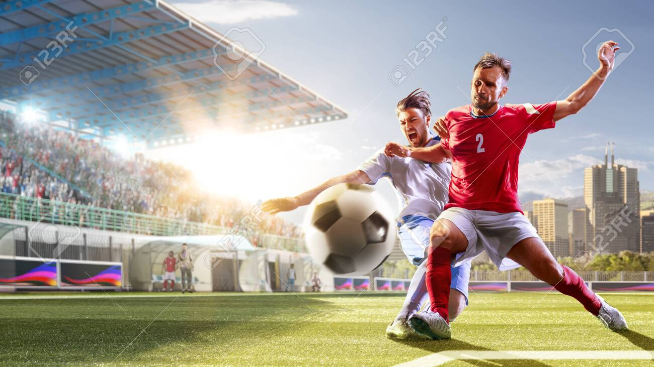 Soccer players in action on the day grand stadium background panorama - 137692562
