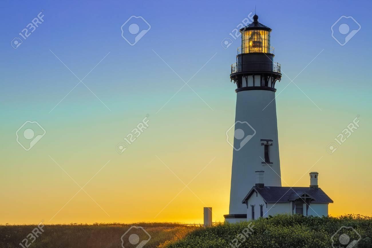 Yaquina Head Lighthouse at Sunset, Oregon, USA - 82835136