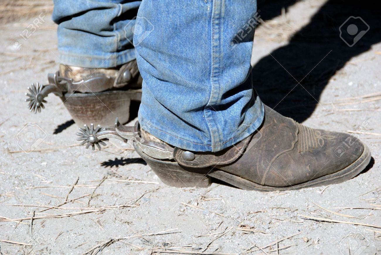 Well Worn Workin Cowboy Western Boot With Buckaroo Spurs Stock ...