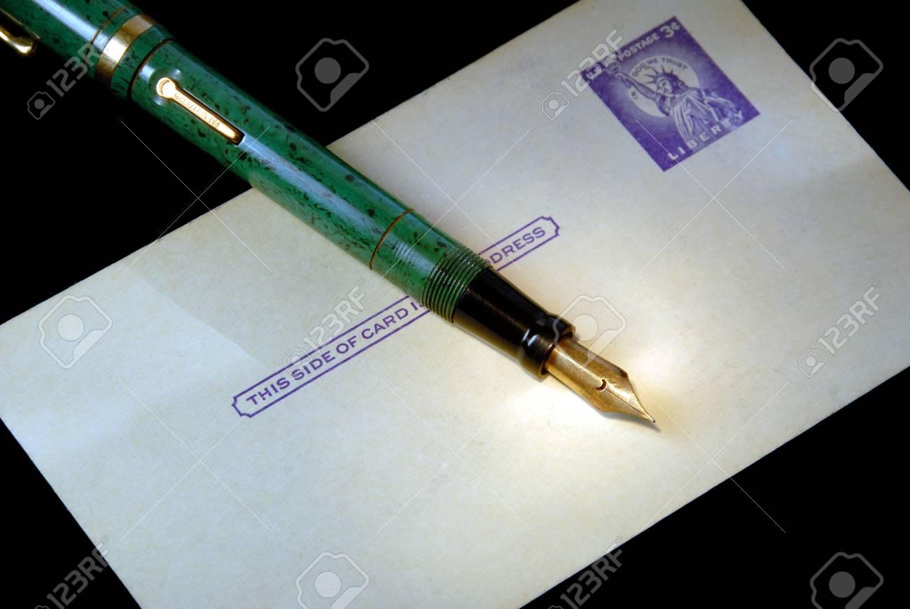 Retro Aged, Three Cent Postcard, Vintage Fountain Pen Stock Photo - 2274462