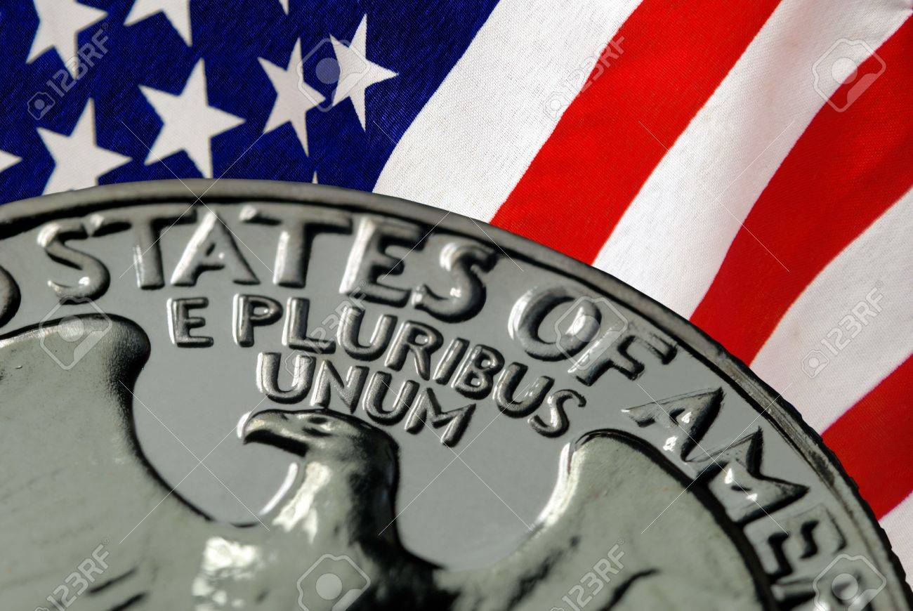 Red, White, and Blue From American Flag and United States of America on Vintage, Retro, 1967 United States Quarter Stock Photo - 3399260