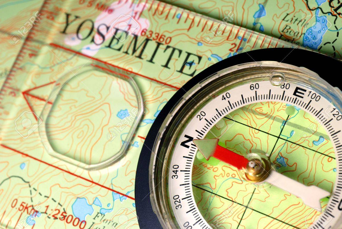 Transparent Navigational Compass On Topographical Map Of Yosemite - Us map with compass